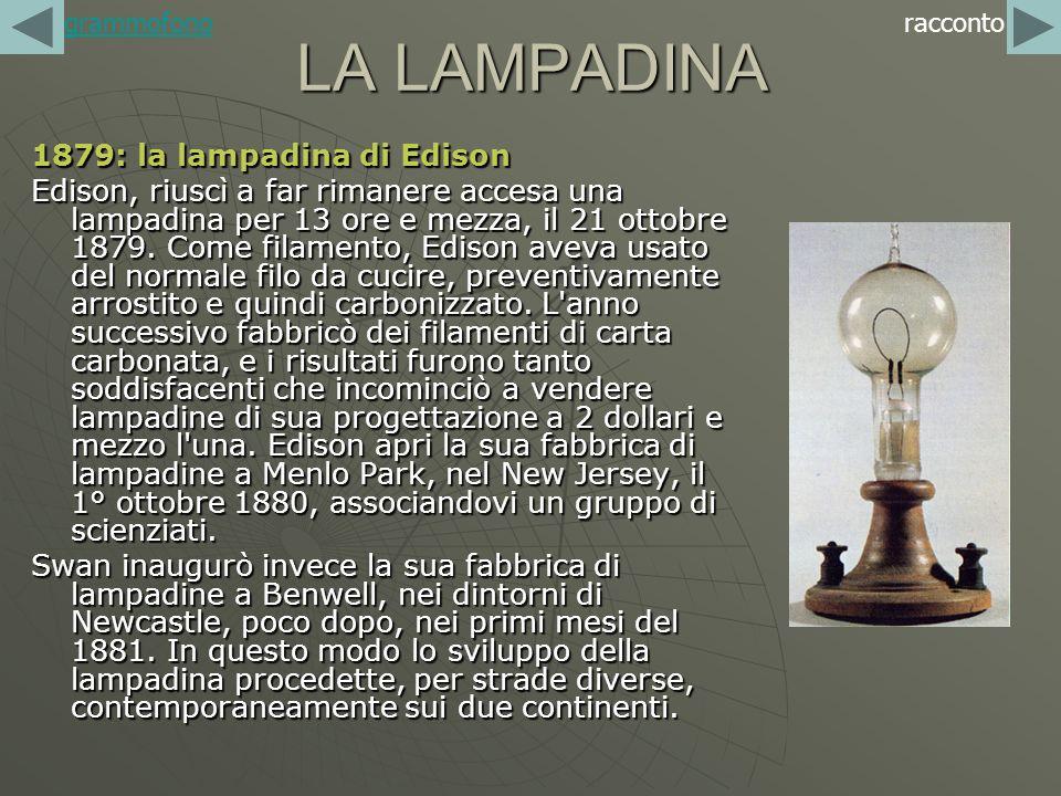 LA LAMPADINA 1879: la lampadina di Edison Edison, riuscì a far rimanere accesa una lampadina per 13 ore e mezza, il 21 ottobre 1879. Come filamento, E