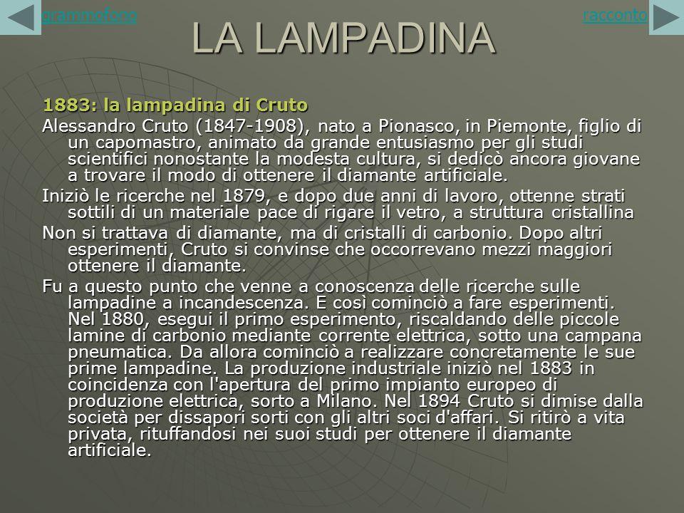 LA LAMPADINA 1883: la lampadina di Cruto Alessandro Cruto (1847-1908), nato a Pionasco, in Piemonte, figlio di un capomastro, animato da grande entusi