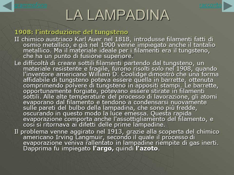 LA LAMPADINA 1908: l'introduzione del tungsteno II chimico austriaco Karl Auer nel 1818, introdusse filamenti fatti di osmio metallico, e già nel 1900