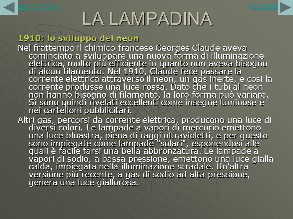 LA LAMPADINA 1910: lo sviluppo del neon Nel frattempo il chimico francese Georges Claude aveva cominciato a sviluppare una nuova forma di illuminazion