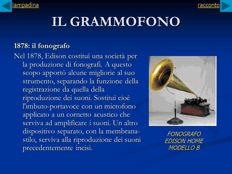 IL GRAMMOFONO 1878: il fonografo Nel 1878, Edison costituì una società per la produzione di fonografi. A questo scopo apportò alcune migliorie al suo