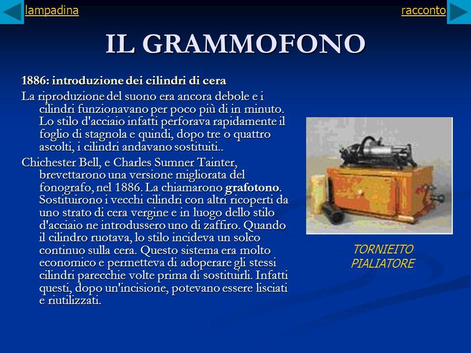 IL GRAMMOFONO 1886: introduzione dei cilindri di cera La riproduzione del suono era ancora debole e i cilindri funzionavano per poco più di in minuto.