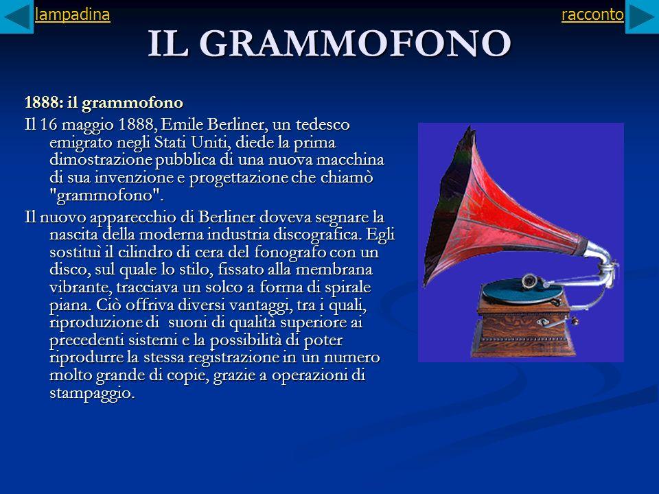 IL GRAMMOFONO 1888: il grammofono Il 16 maggio 1888, Emile Berliner, un tedesco emigrato negli Stati Uniti, diede la prima dimostrazione pubblica di u