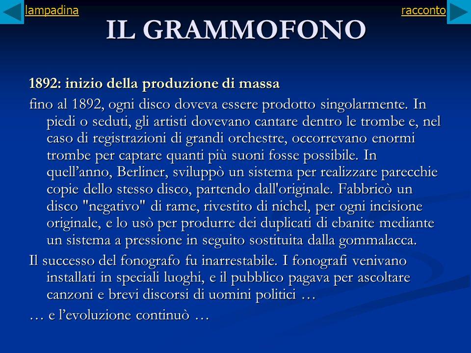 IL GRAMMOFONO 1892: inizio della produzione di massa fino al 1892, ogni disco doveva essere prodotto singolarmente. In piedi o seduti, gli artisti dov