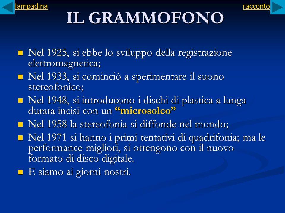 IL GRAMMOFONO Nel 1925, si ebbe lo sviluppo della registrazione elettromagnetica; Nel 1925, si ebbe lo sviluppo della registrazione elettromagnetica;