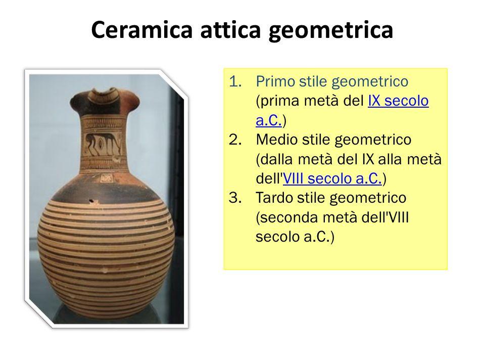 Ceramica attica geometrica 1.Primo stile geometrico (prima metà del IX secolo a.C.)IX secolo a.C.