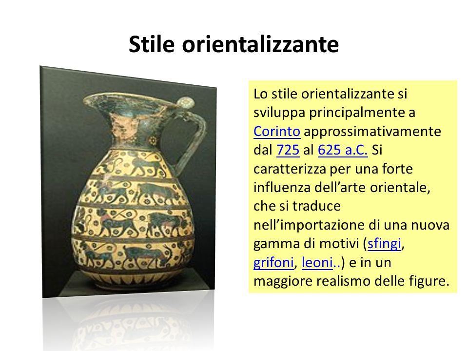 Stile orientalizzante Lo stile orientalizzante si sviluppa principalmente a Corinto approssimativamente dal 725 al 625 a.C.