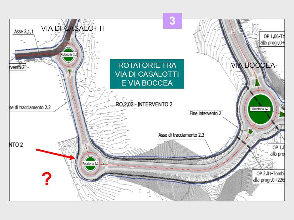 ROTATORIE TRA VIA DI CASALOTTI E VIA BOCCEA VIA DI CASALOTTI VIA BOCCEA 3 ?