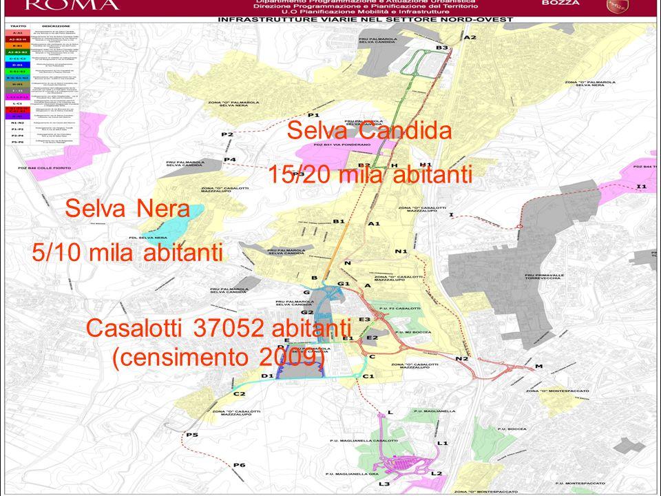Casalotti 37052 abitanti (2009) Selva Candida 15/20 mila abitanti Selva Nera 5/10 mila abitanti Totale circa 60000 abitanti