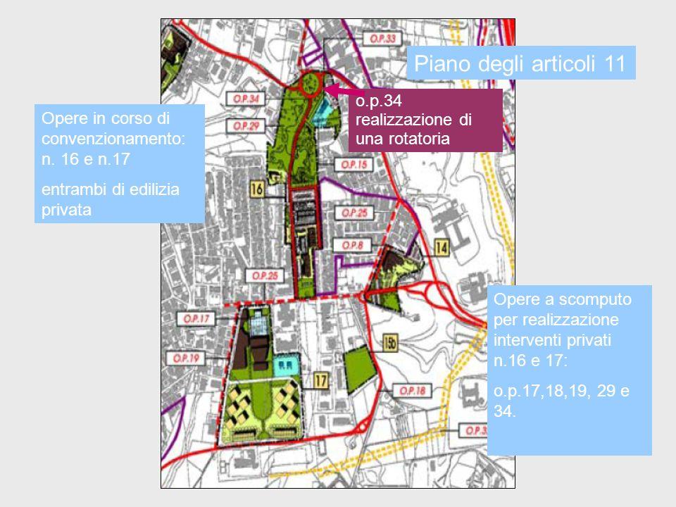 Opere in corso di convenzionamento: n. 16 e n.17 entrambi di edilizia privata Opere a scomputo per realizzazione interventi privati n.16 e 17: o.p.17,