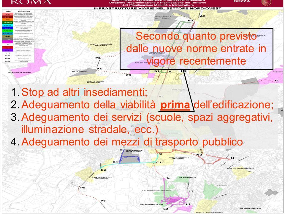 Nuovi insediamenti 1.Stop ad altri insediamenti; 2.Adeguamento della viabilità prima delledificazione; 3.Adeguamento dei servizi (scuole, spazi aggreg