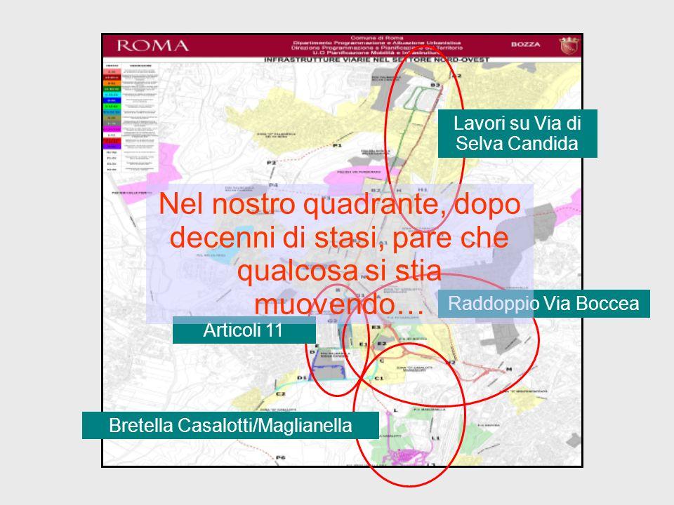 Raddoppio Via Boccea Lavori su Via di Selva Candida Articoli 11 Bretella Casalotti/Maglianella Nel nostro quadrante, dopo decenni di stasi, pare che q