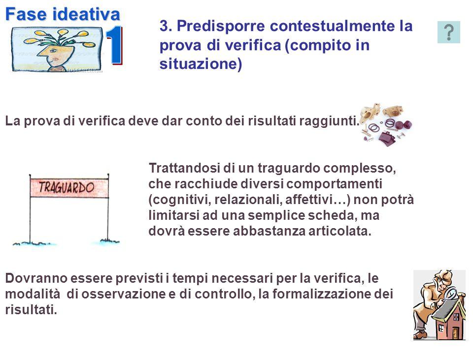 3. Predisporre contestualmente la prova di verifica (compito in situazione) La prova di verifica deve dar conto dei risultati raggiunti. Trattandosi d