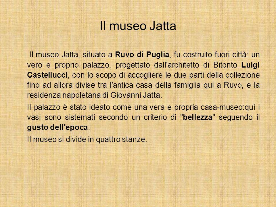 Il museo Jatta Il museo Jatta, situato a Ruvo di Puglia, fu costruito fuori città: un vero e proprio palazzo, progettato dall'architetto di Bitonto Lu