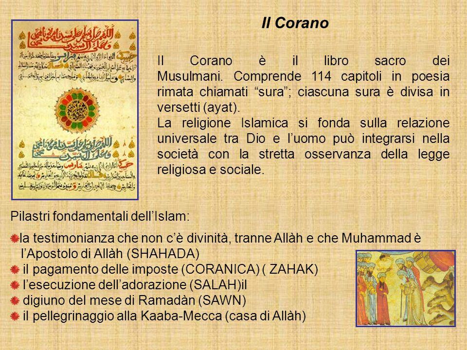 Il Corano è il libro sacro dei Musulmani. Comprende 114 capitoli in poesia rimata chiamati sura; ciascuna sura è divisa in versetti (ayat). La religio