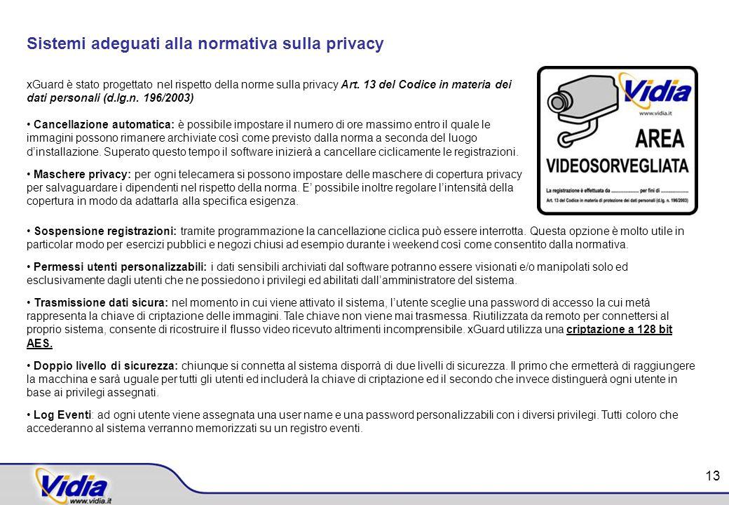 Sistemi adeguati alla normativa sulla privacy xGuard è stato progettato nel rispetto della norme sulla privacy Art. 13 del Codice in materia dei dati