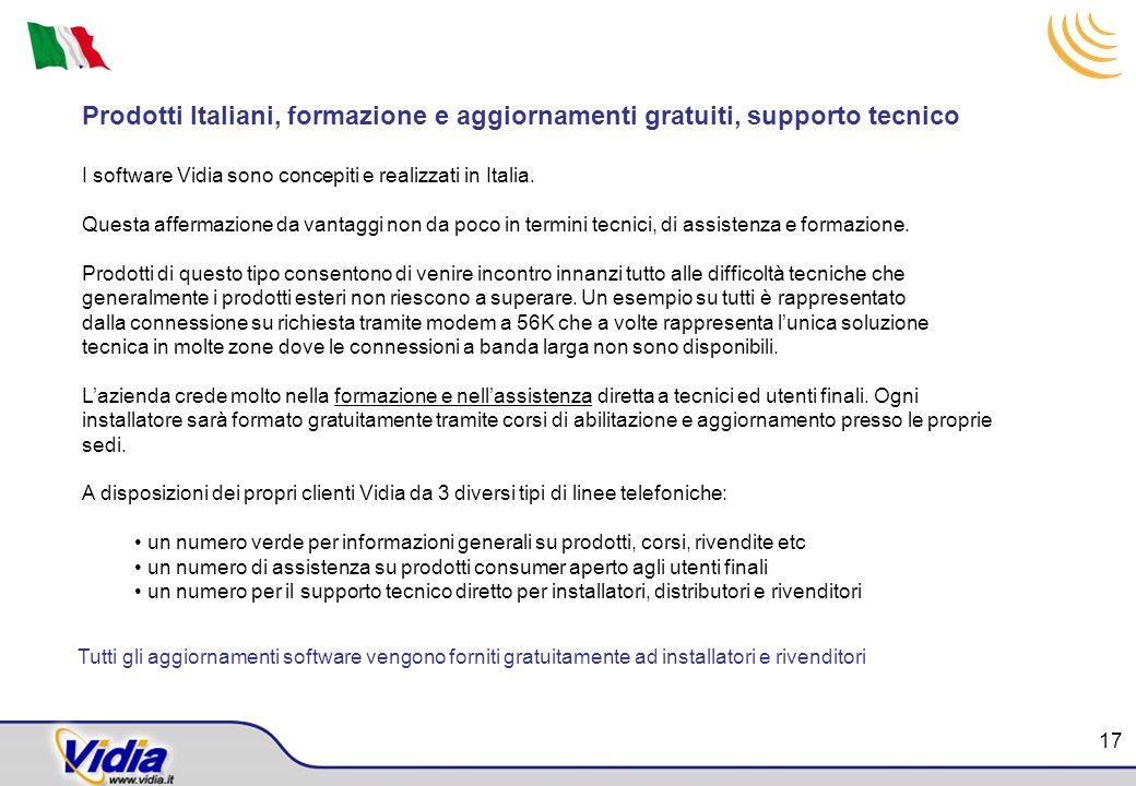 Prodotti Italiani, formazione e aggiornamenti gratuiti, supporto tecnico I software Vidia sono concepiti e realizzati in Italia. Questa affermazione d