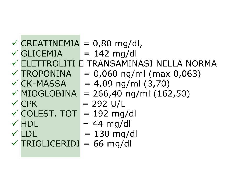 CREATINEMIA = 0,80 mg/dl, GLICEMIA = 142 mg/dl ELETTROLITI E TRANSAMINASI NELLA NORMA TROPONINA = 0,060 ng/ml (max 0,063) CK-MASSA = 4,09 ng/ml (3,70)