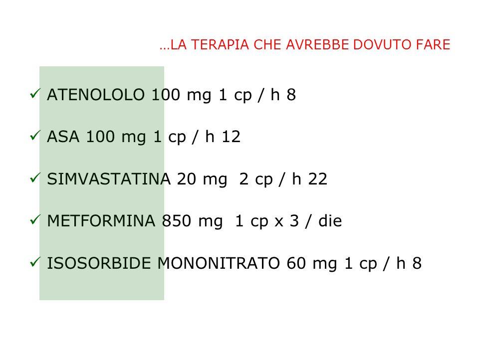 …LA TERAPIA CHE AVREBBE DOVUTO FARE ATENOLOLO 100 mg 1 cp / h 8 ASA 100 mg 1 cp / h 12 SIMVASTATINA 20 mg 2 cp / h 22 METFORMINA 850 mg 1 cp x 3 / die ISOSORBIDE MONONITRATO 60 mg 1 cp / h 8