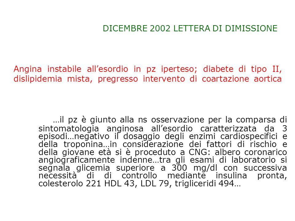 DICEMBRE 2002 LETTERA DI DIMISSIONE …il pz è giunto alla ns osservazione per la comparsa di sintomatologia anginosa allesordio caratterizzata da 3 epi