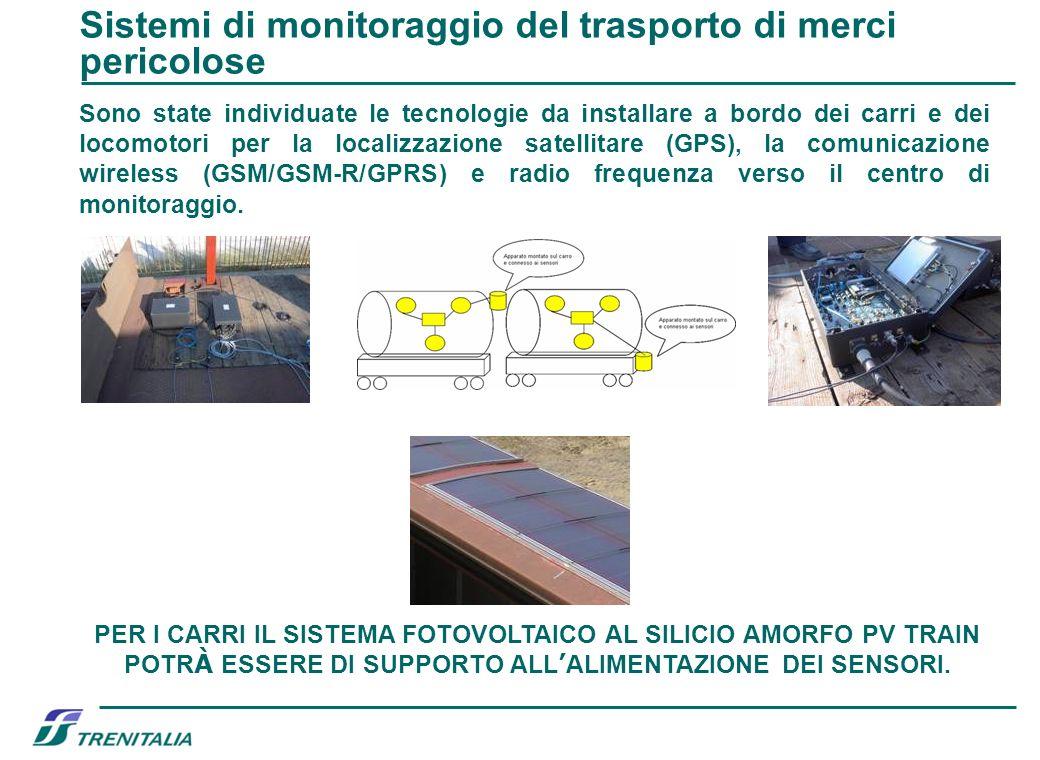 Sono state individuate le tecnologie da installare a bordo dei carri e dei locomotori per la localizzazione satellitare (GPS), la comunicazione wirele