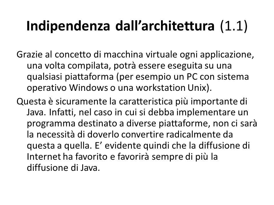 Indipendenza dallarchitettura (1.1) Grazie al concetto di macchina virtuale ogni applicazione, una volta compilata, potrà essere eseguita su una quals