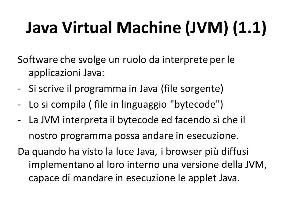 Java Virtual Machine (JVM) (1.1) Software che svolge un ruolo da interprete per le applicazioni Java: -Si scrive il programma in Java (file sorgente)