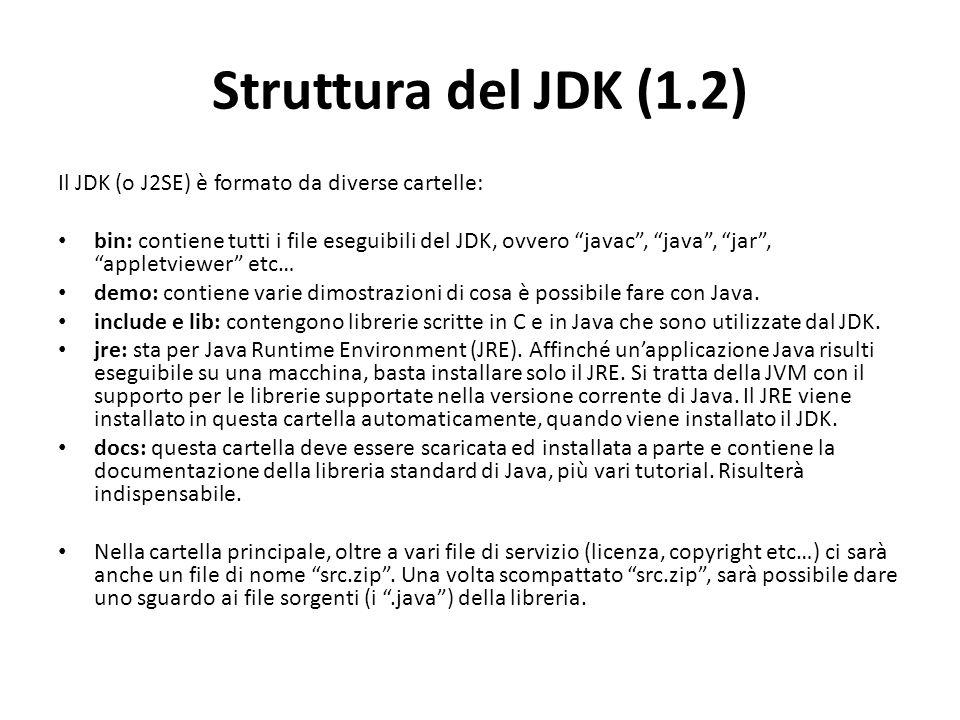 Struttura del JDK (1.2) Il JDK (o J2SE) è formato da diverse cartelle: bin: contiene tutti i file eseguibili del JDK, ovvero javac, java, jar, appletv