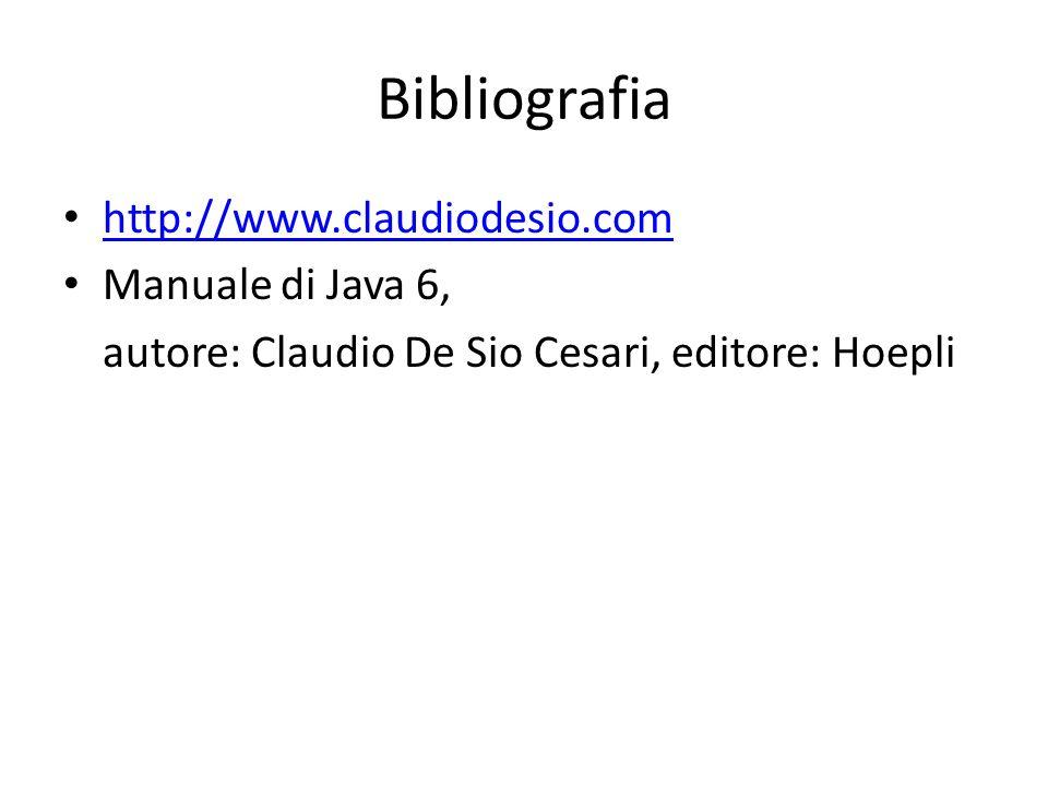 Bibliografia http://www.claudiodesio.com Manuale di Java 6, autore: Claudio De Sio Cesari, editore: Hoepli