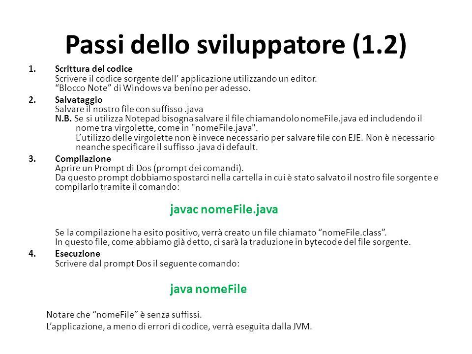 Passi dello sviluppatore (1.2) 1.Scrittura del codice Scrivere il codice sorgente dell applicazione utilizzando un editor. Blocco Note di Windows va b