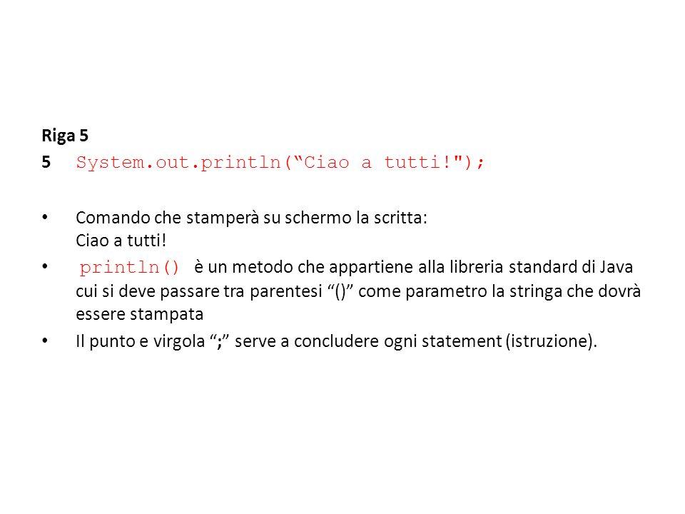 Riga 5 5 System.out.println(Ciao a tutti!