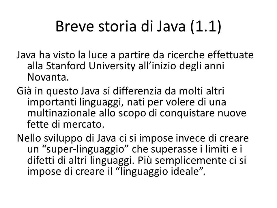 Breve storia di Java (1.1) Java ha visto la luce a partire da ricerche effettuate alla Stanford University allinizio degli anni Novanta. Già in questo