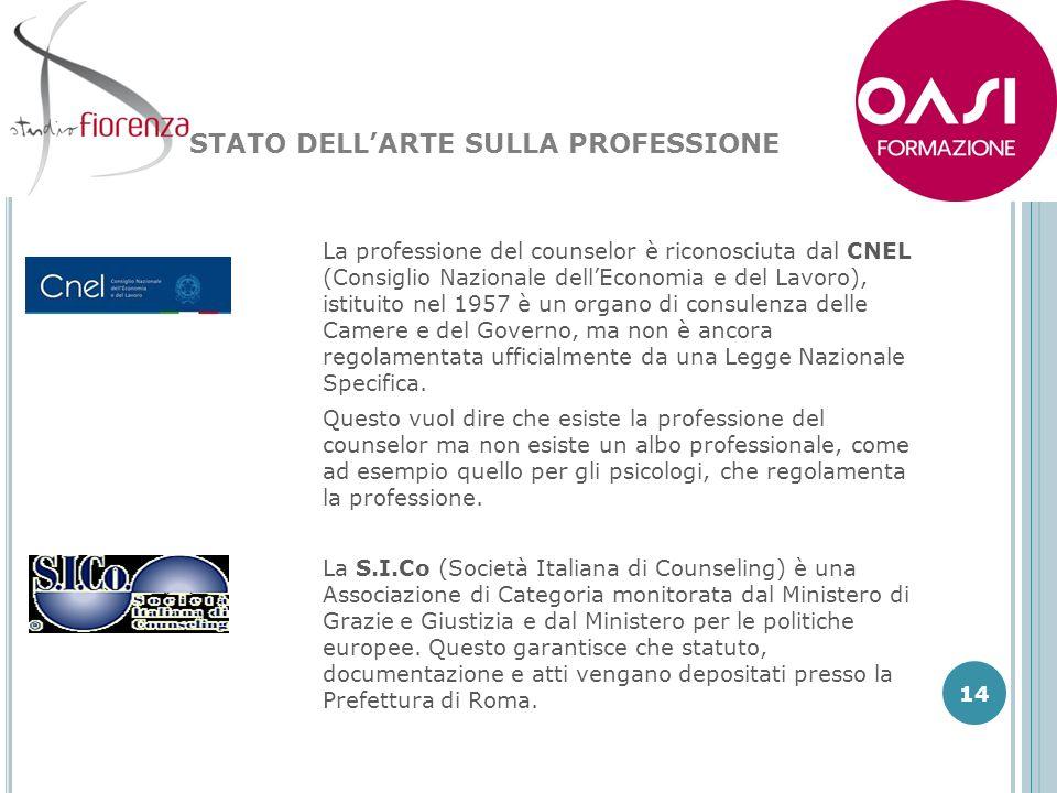La professione del counselor è riconosciuta dal CNEL (Consiglio Nazionale dellEconomia e del Lavoro), istituito nel 1957 è un organo di consulenza del