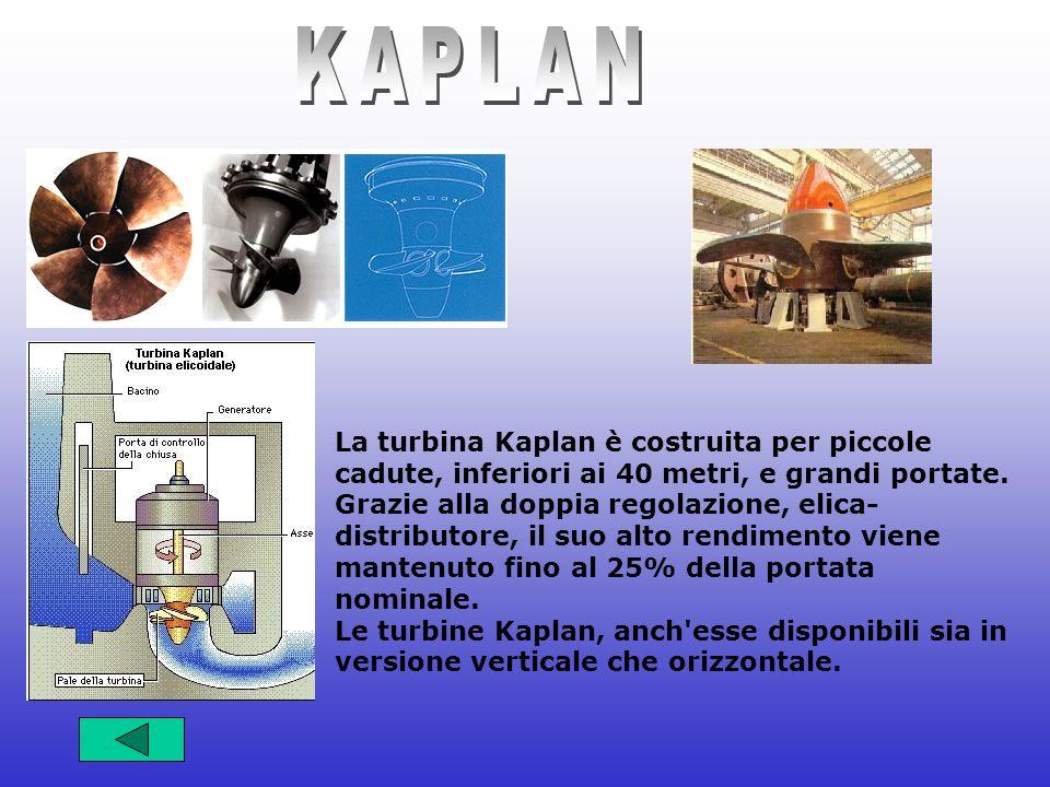 La turbina Kaplan è costruita per piccole cadute, inferiori ai 40 metri, e grandi portate. Grazie alla doppia regolazione, elica- distributore, il suo