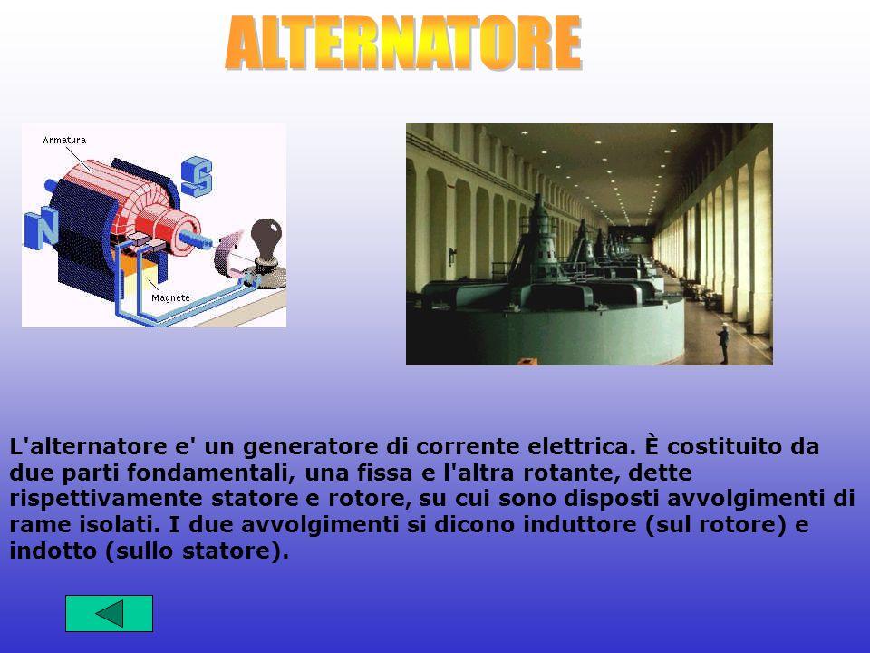 L'alternatore e' un generatore di corrente elettrica. È costituito da due parti fondamentali, una fissa e l'altra rotante, dette rispettivamente stato