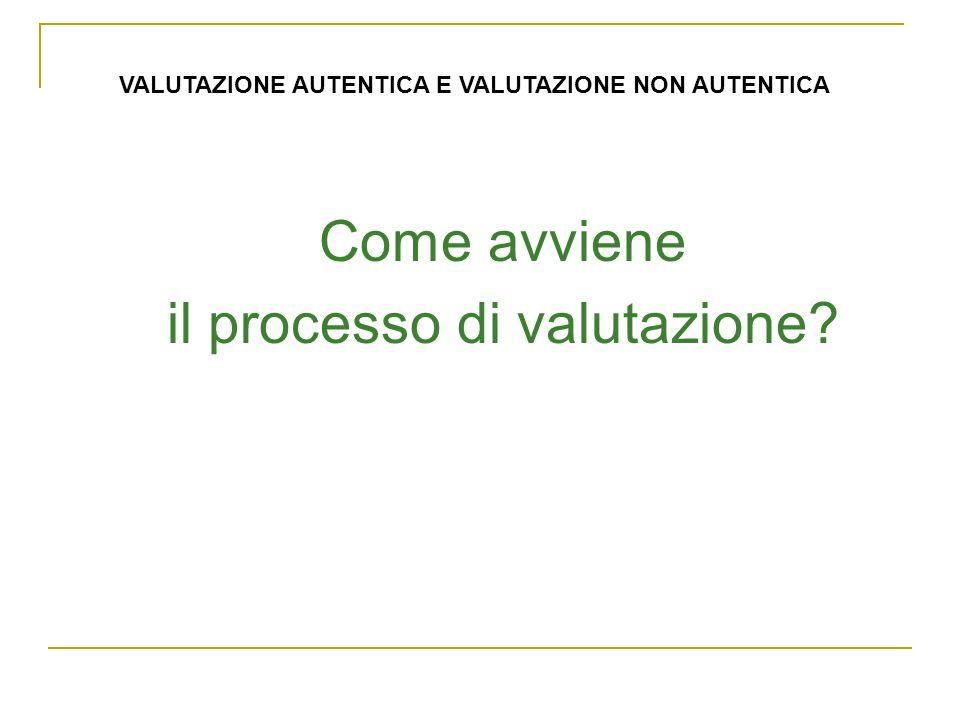 Come avviene il processo di valutazione VALUTAZIONE AUTENTICA E VALUTAZIONE NON AUTENTICA