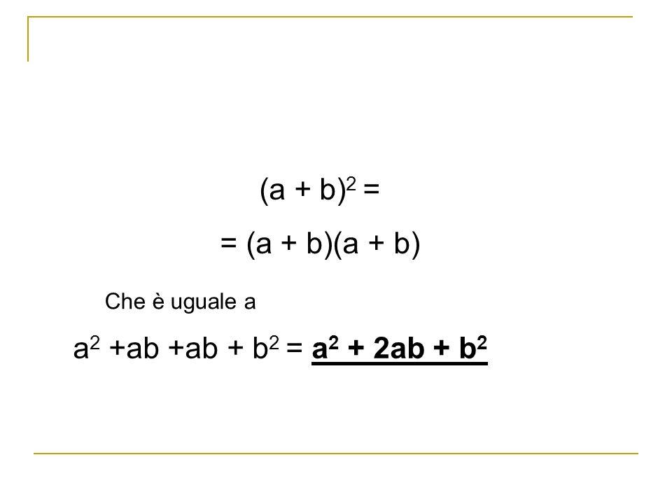 (a + b) 2 = = (a + b)(a + b) Che è uguale a a 2 +ab +ab + b 2 = a 2 + 2ab + b 2