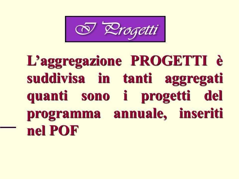 Laggregazione PROGETTI è suddivisa in tanti aggregati quanti sono i progetti del programma annuale, inseriti nel POF