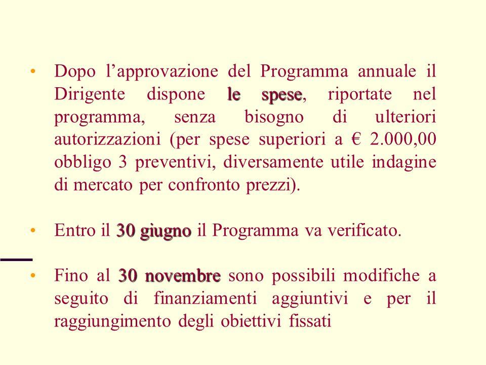 le spese Dopo lapprovazione del Programma annuale il Dirigente dispone le spese, riportate nel programma, senza bisogno di ulteriori autorizzazioni (p
