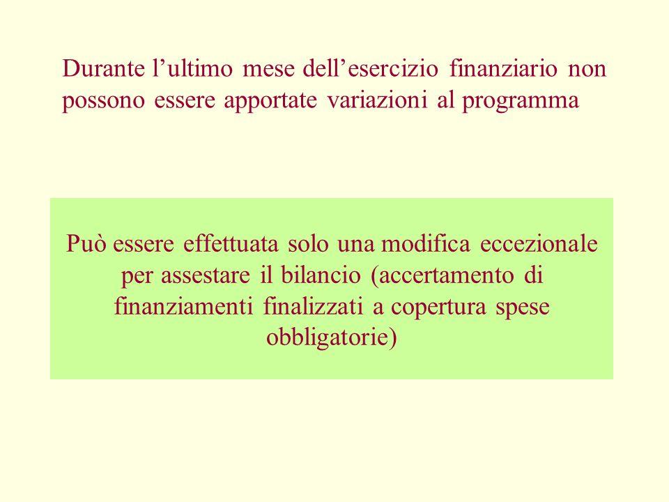 Durante lultimo mese dellesercizio finanziario non possono essere apportate variazioni al programma Può essere effettuata solo una modifica eccezional