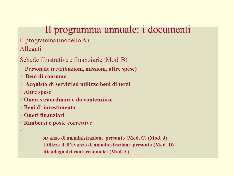 Il programma annuale: i documenti Il programma (modello A) Allegati Schede illustrative e finanziarie (Mod. B) Personale (retribuzioni, missioni, altr