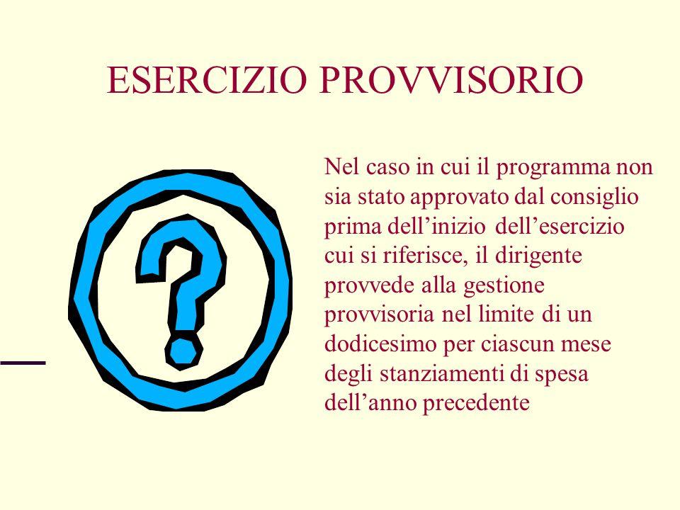 ESERCIZIO PROVVISORIO Nel caso in cui il programma non sia stato approvato dal consiglio prima dellinizio dellesercizio cui si riferisce, il dirigente