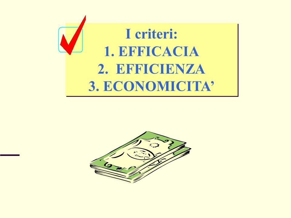 I criteri: 1.EFFICACIA 2. EFFICIENZA 3.ECONOMICITA I criteri: 1.EFFICACIA 2. EFFICIENZA 3.ECONOMICITA