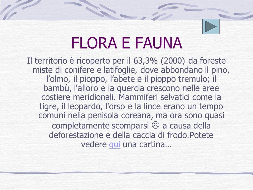 FLORA E FAUNA Il territorio è ricoperto per il 63,3% (2000) da foreste miste di conifere e latifoglie, dove abbondano il pino, lolmo, il pioppo, labete e il pioppo tremulo; il bambù, l alloro e la quercia crescono nelle aree costiere meridionali.
