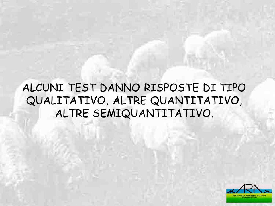 ALCUNI TEST DANNO RISPOSTE DI TIPO QUALITATIVO, ALTRE QUANTITATIVO, ALTRE SEMIQUANTITATIVO.