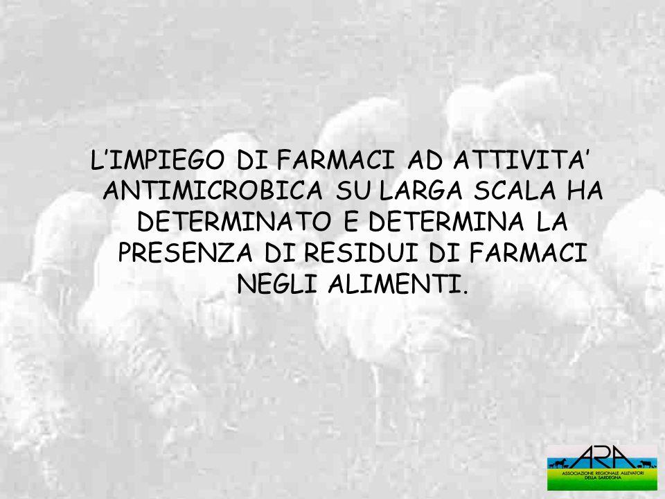 LIMPIEGO DI FARMACI AD ATTIVITA ANTIMICROBICA SU LARGA SCALA HA DETERMINATO E DETERMINA LA PRESENZA DI RESIDUI DI FARMACI NEGLI ALIMENTI.
