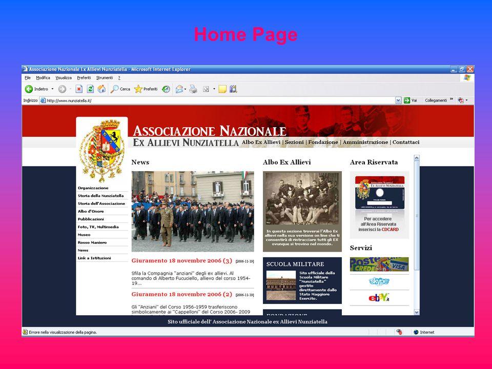 Nuovo Sito Nazionale www.nunziatella.it Cd Card e relativi Servizi Autore del nuovo sito con nuove implementazioni tecnologiche : Fabrizio Minelli (80-83)