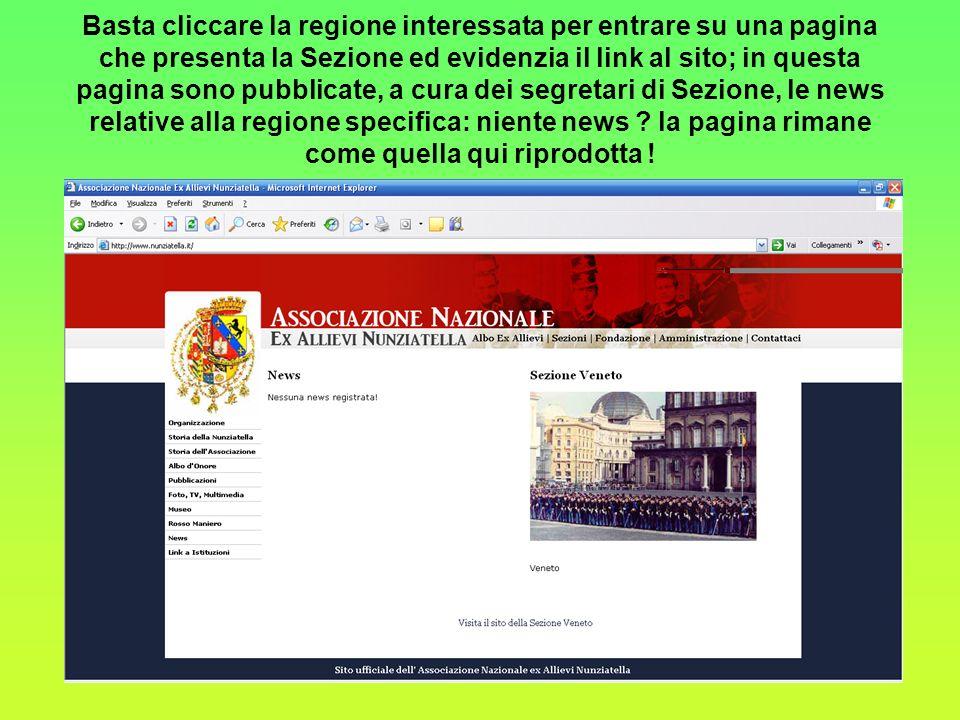 Linterfaccia con i siti sezionali è assicurata con una cartina interattiva dellItalia, ed ipertesti sulle singole regioni, che ovviamente dispongano di un sito proprio.
