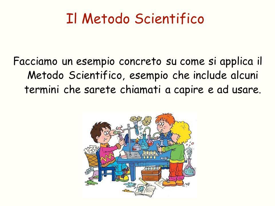 Facciamo un esempio concreto su come si applica il Metodo Scientifico, esempio che include alcuni termini che sarete chiamati a capire e ad usare. Il