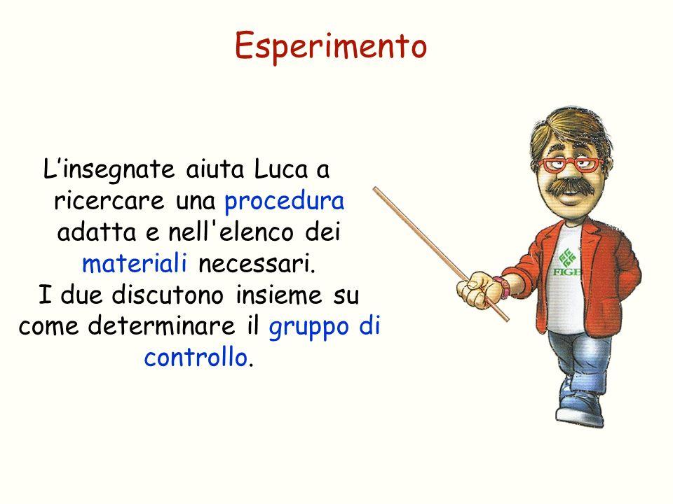 Esperimento Linsegnate aiuta Luca a ricercare una procedura adatta e nell'elenco dei materiali necessari. I due discutono insieme su come determinare